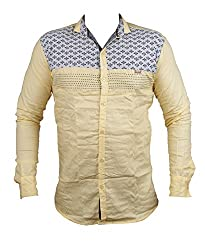 Zedx casual long sleeve printed single cuff LIGHT YELLOW apple cut shirt for Men's