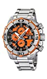 Festina Chrono Bike 2012 Men's Quartz Watch with Orange Dial Chronograph Display and Silver Stainless Steel Bracelet F16599/6