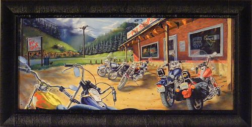 The Pit Stop by Mark Rose 18x35 Motorcycles Bikes Harley Framed Art Print Wall Décor Picture