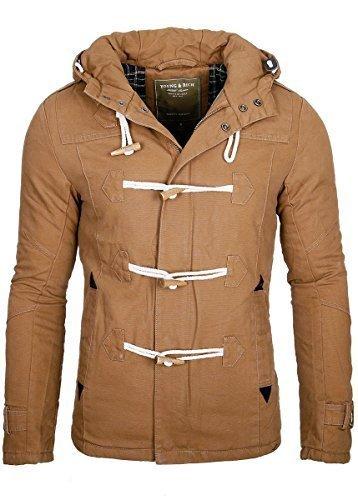 Young & Rich Head Line giacca uomo con cappuccio cappotto giacca invernale caldo Parka Nero marrone Medium