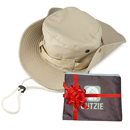 Wide Brim Packable Booney Sun Hat | Max Protection for UVA | Lightweight Cotton | Perfect for Fishing Gardening Hiking Camping The Beach and All Outdoor Activity | Bonus Nylon Travel Bag | Men | Women (Vented Fishing Hat compare prices)