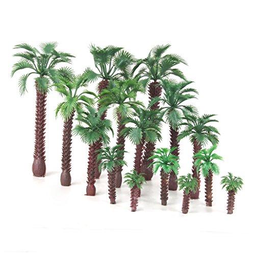 15pcs-Landschaftsbau-Palm-Baum-Bume-Modelleisenbahn-Scale-HO-O-N-4-16cm