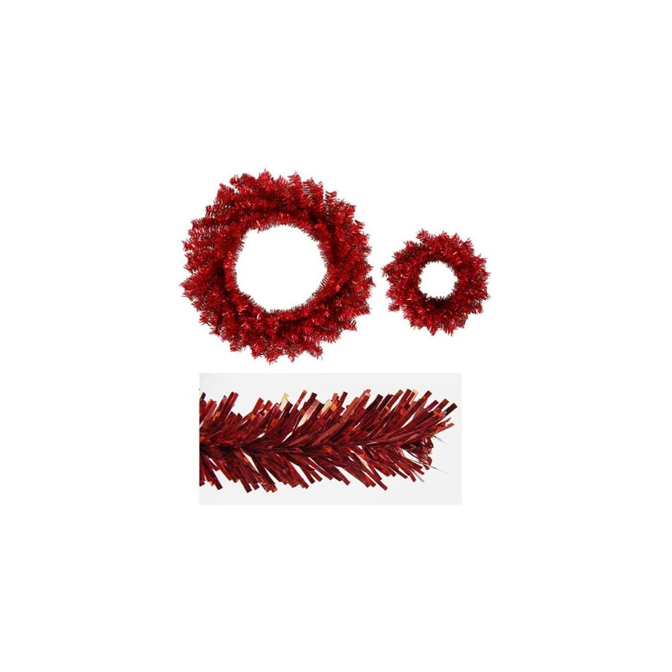 Set of 2 Sparkling Red Hot Artificial Christmas Wreaths 10 & 18   Unlit