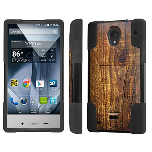 NakedShield Sharp AQUOS Crystal Wood Print T Armor Tough Shock Proof KickStand Phone Case (Sharp Aquos Crystal Wood compare prices)