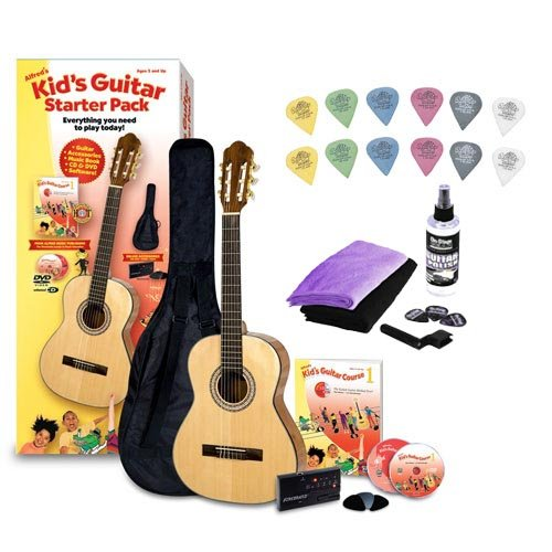 Alfred's Kid's Guitar Course, Complete Starter Pack with Universal Guitar Care Kit & Guitar Picks