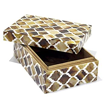 Collectibles Buy Retro Handmade Bone Inlay Jewellery Designer Box Organiser Moroccan Home Decor Wooden Storage Boxes, 7 X 3 X 5 inches, Brown & White Color