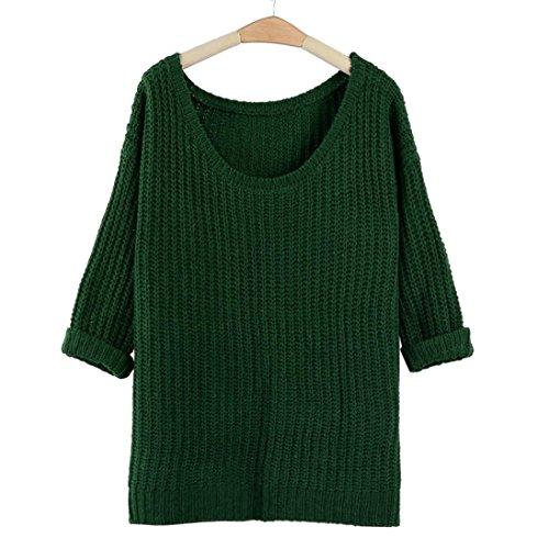 EKIMI Women's Batwing Sleeve Oversized Pullover Knitted Sweater (Green)