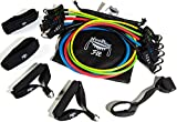 NeeBooFit Resistance Band Set - 5 Exercise Bands with 2 Handles, 2 Ankle Straps, Door Anchor, Carry Bag and Exercise Booklet (5 Band Set)