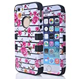 JIAXIUFEN Hard PC&Soft Silicone Combo Hybrid Defender High Impact Body Armorbox Case for Apple Iphone 5 5S with Screen Protector and Stylus(Pink Flower White Back&Black)