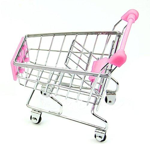 SMTSMT Supermarket Handcart Shopping Utility Cart Mode Storage Basket Desk-Pink (Mini Toy Vacuum compare prices)