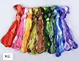 2500 Silk Art China Natural 100% Mulberry Silk Floss Handmade Embroidery Woven Jewelry Threads 50 Colors 336 feet SIX001