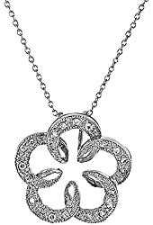"Sterling Silver Round Cubic Zirconia Floral Pendant Necklace 18 "" Cable April Birthstone SPJ"