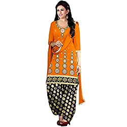 Expert Women's New Fashion Designer Fancy Wear Todays Low Price Best Special Offer All Type Modern Orange Embroidered Glass Work Patiyala Salwar Suit