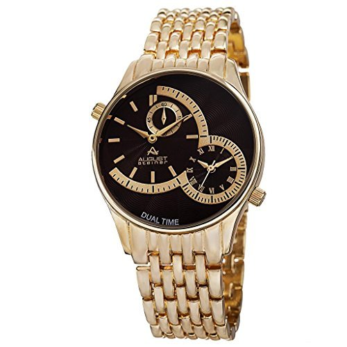 August Steiner Men's AS8141BR Yellow Gold Dual Time Zone Quartz Watch with Brown Dial and Yellow Gold Bracelet by August Steiner