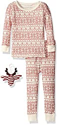 Burt's Bees Baby Unisex Organic Fair Isle Bee Tee and Pant Pajama Set with Ornament, Ivory, 24 Months