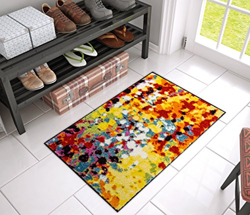 Impasto Multi Geometric Red Yellow Blue Modern Abstract Painting Area Rug 2x4 ( 1'8