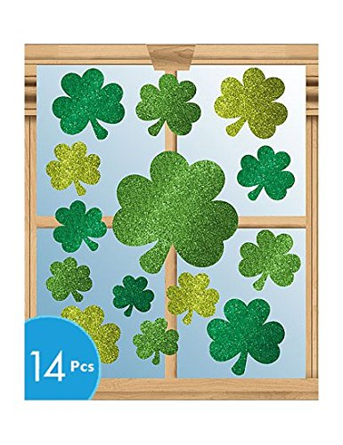 St Patricks Day Glitter Vinyl Window Cling Decorations 14/pkg