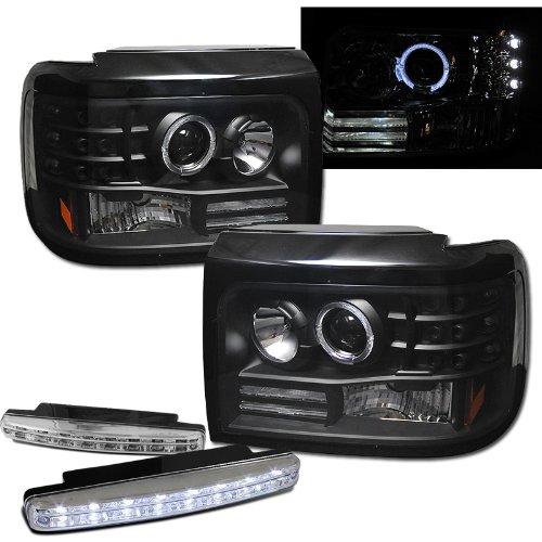 Ford F150 F250 F350 Halo Projector Headlights + 8 Led Fog Bumper Light