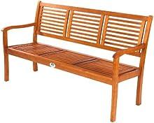 Comprar Ultranatura Canberra - Banco de jardín de 3 plazas, madera de eucalipto, 158 cm x 61.5 cm x 89 cm