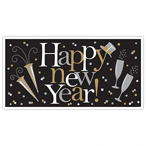 "Amscan Happy New Year Banner Holiday Decoration Celebration Sign 65"" x 33 1/2"" Plastic - 1"