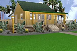 24x24 Cabin w/Covered Porch Plans Package, Blueprints, Material List