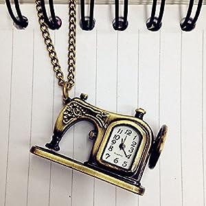 Malloom® unisexo Retro antiguo bronce aleación máquinas de coser collar colgante reloj de bolsillo Navidad regalo marca Malloom®
