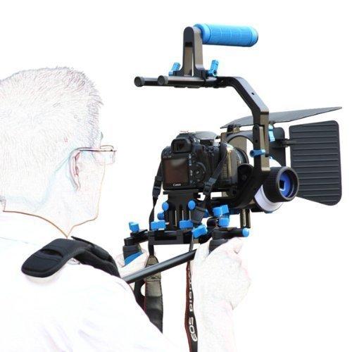 SunSmart DSLR Rig Movie Kit Shoulder Mount Rig + segue il fuoco + Matte Box + Regolare Platform + C Supporto Cage Shape + maniglia superiore per Tutti DSLR e video Videocamere