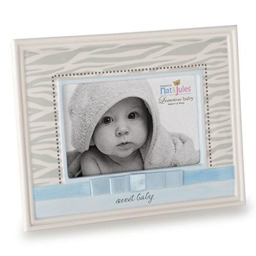 Nat and Jules Sweet Baby Zebra Frame, Blue