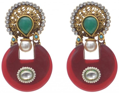New Choice Red Stone Earring for Women (multicolor)