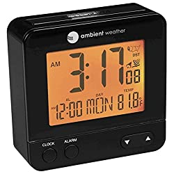 Ambient Weather RC-8300 Atomic Travel Compact Alarm Clock with Auto Night Light Feature