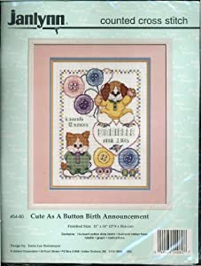 "Cute As a Button Birth Announcement Counted Cross Stitch - 11"" X 14"""