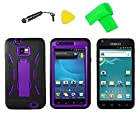Heavy Duty Hybrid Phone Cover Case Cell Phone Accessory + Extreme Band + Stylus Pen + LCD Screen Protector + Yellow Pry Tool For Straight Talk TracFone Samsung Galaxy S II S 2 S959 S959G SGH-S959G (Black/Purple)