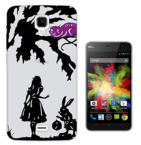 c0116 - Alice in Wonderland cheshire cat and rabbit Design Wiko Bloom Fashion Trend Gel Rubber Silicone Case Caso / Cover copertura posteriore