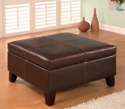 Coaster Dark Brown Contemporary Square Faux Leather Storage Ottoman