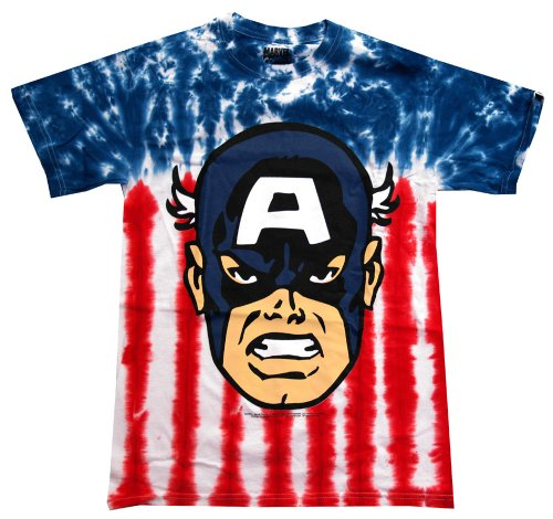Captain America Marvel Comics Tie Dye Costume Superhero Adult T-Shirt Tee