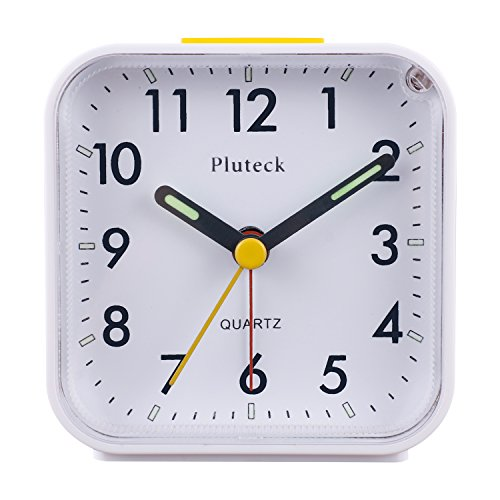 Pluteck Non Ticking Quartz Analog Clock with Nightlight and Snooze/Ascending Sound Alarm/Simple to Set Clocks, Battery Powered, Small, White (Small Battery Clocks compare prices)