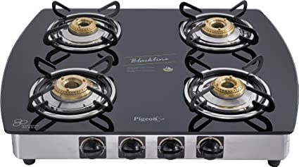 Pigeon Blackline Oval SS Auto Gas Cooktop (4 Burner)