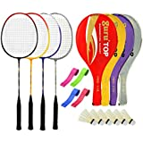 Guru PROBR09 Series-COMBO-4 Badminton Racquets Set Pack Of Four With Four Cover Six Shuttlecock & Four Hand Grip...