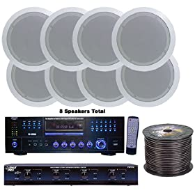 (Price/Kit)Pyle 4 Room Home In-Ceiling Speakers W/DVD/MP3 Amp System