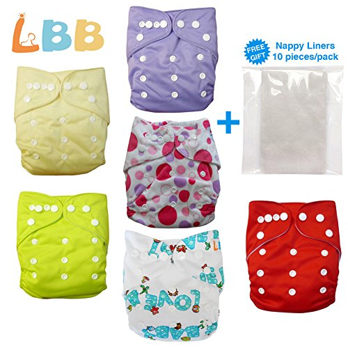 Baby Double Rows of Snaps 6pcs Pack Fitted Pocket Washable Adjustable Cloth Diape£¨Girl Color£©6BM88