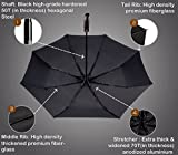 (Designed in Britain) Balios® Handmade Real Wood Handle Double Canopy Windproof Fiberglass Auto Open & Close Folding Umbrella-Premium 300T Finest Fabric-Uniquely Strong-Mens Ladies-High Quality-BLACK