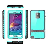 Samsung galaxy Note 4 IP-68 Untra Kick-stand Waterproof Case Cover ,Nika shop Swimming Diving New Full Body Crystal 6.6 Ft Underwater Attached Screen Protector Waterproof Water Resistant Heavy Duty Slim Case Cover for Samsung galaxy Note 4 Phone, Rugged Hard Armor Underwater Durable Full Body Sealed Protection Skin Pouch dirtproof dustproof Snowproof Sweatproof Shockproof Hard Armor Protective Heavy Duty Defender Built-in Screen Protector Rugged Cover Case for Samsung galaxy Note 4 +Free Screen Protect + Hand Strap - Retail Packaging(Nika shop-Teal)
