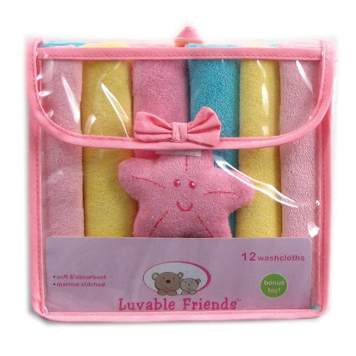 Luvable Friends 12 Washcloths In Bag With Bonus Toy, Pink