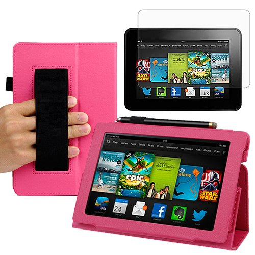 Best  BIRUGEAR SlimBook Leather HandStrap Folio Stand Case with Screen Protector for All New Kindle Fire HD 7 Inch Tablet (2013 Release) ( Hot Pink)