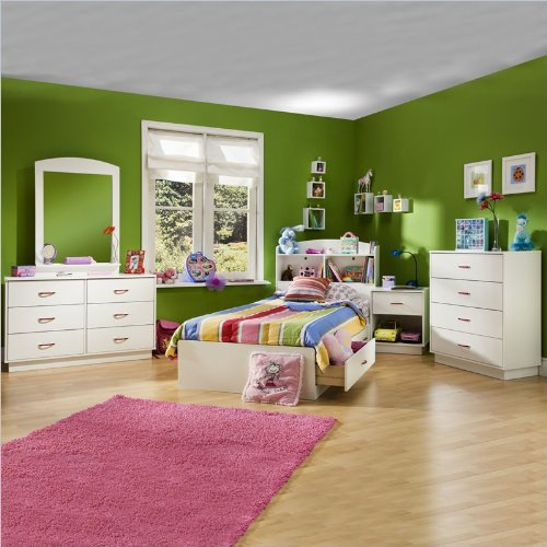 Kids Pure White Twin Wood Mates Storage Bed 4 Piece Bedroom Set front-872194