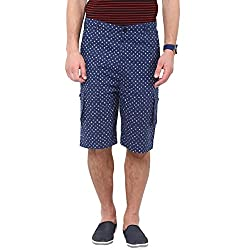 Hypernation Blue Color Printed Cotton 3/4TH Shorts For Men