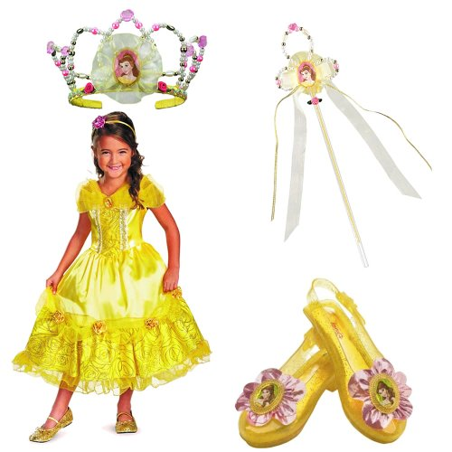 Disney Belle Deluxe Costume Medium (7-8) Including Tiara, Wand and Sparkle Shoes