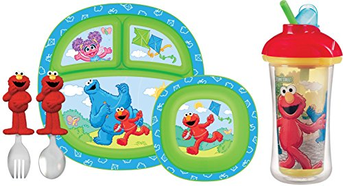 Munchkin Sesame Street 5-Piece Toddler Dining Set With Insulated Flip Straw Cup front-422322