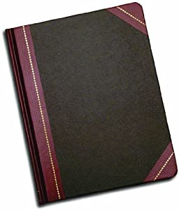 Adams Record Ledger,7.63 x 9.63 Inches, Black Cover with Maroon Spine, 5 Squares per Inch, 150 Pages (ARB79R150)