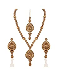 I Jewels Traditional Gold Plated Elegantly Handcrafted Jewellery Set With Maang Tikka Using Austrian Diamonds...